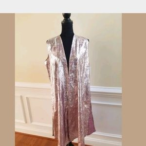 LuLaRoe Joy Pink Silver Paisley Vest Duster Medium